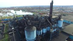 Aerial 4K UHD - Large industrial complex with chimneys in Hamilton Stock Footage