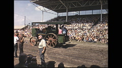 Vintage 16mm film, 1965, County Fair, steam tractor parade grandstand #1 - stock footage