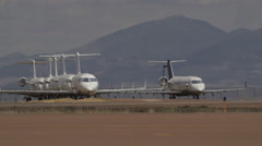 A Few Airplanes On The Hot Runway - stock footage