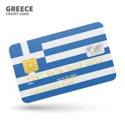 Stock Illustration of Credit card with Greece flag background for bank, presentations and business