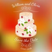 Wedding cake with cream roses over colorful blurred vector background. Stock Illustration
