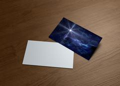 greeting cards of starry night blue star lens flare - stock illustration