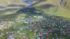 Aerial view of Kazbegi Stock Footage