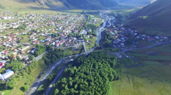 Aerial view of Kazbegi - stock footage
