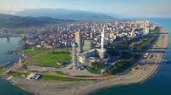 Aerial view of Batumi seafront - stock footage