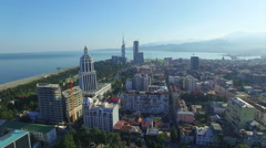 Aerial view of park in Batumi Stock Footage