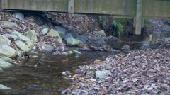 View of a small stream under a wooden bridge Stock Footage