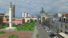 Aerial of Europe square in Batumi Stock Footage