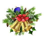 Christmas decoration   evergreen trees and bells Piirros