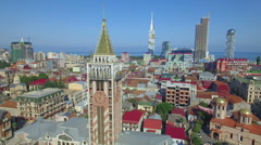 Aerial view of Piazza tower in Batumi Stock Footage