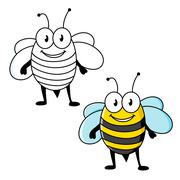 Cartoon striped bee insect with happy smile - stock illustration