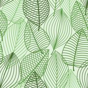 Green foliage seamless pattern of outline leaves - stock illustration