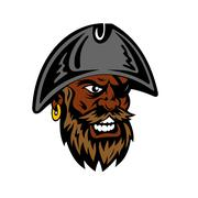 Yelling cartoon bearded pirate in captain hat - stock illustration