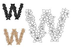 Stock Illustration of Floral letter W with blooming flowers