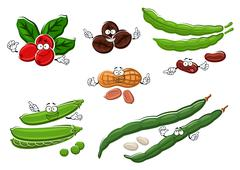 Coffee, peanuts, green pea pods and beans Stock Illustration
