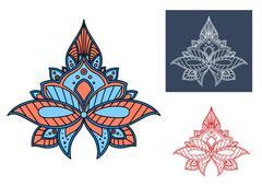 Blue paisley flower with turkish openwork design - stock illustration