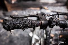 Bicycle burned handlebars Stock Photos