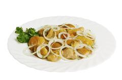 Marinated mushrooms with onion on the plate, isolated Stock Photos