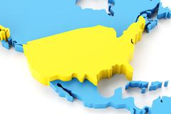 Map of North America with USA highlighted - stock illustration
