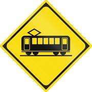 Japanese road warning sign - Crossing Train Piirros