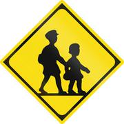 Japanese road sign - Watch out for children - stock illustration