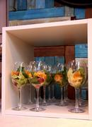 Modern dishware. Salad in glasses at the restaurant - stock photo