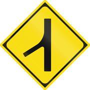 Japanese warning road sign - Merging traffic Stock Illustration