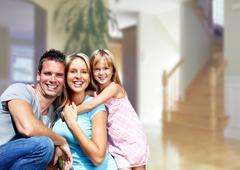 Happy family at home. Stock Photos