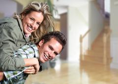 Happy loving couple at home. - stock photo