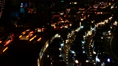 4K Time lapse of Night traffic in Sriracha city - stock footage
