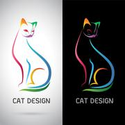 Stock Illustration of Vector image of an cat design on white background and black background, Logo,