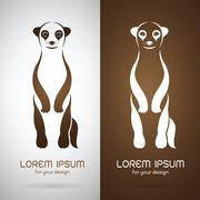 Vector image of an meerkats design on white background and brown background,  - stock illustration