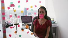 6 Business Person Attaching Sticky Notes On Large Window - stock footage