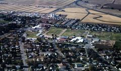Stock Photo of Aerial View Northern California Rural Community And Fields