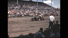 Vintage 16mm film, 1965, County Fair, mini tractors parade grandstand - stock footage