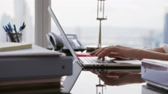 Business Woman Secretary Typing Fast On Laptop In Office Stock Footage