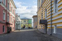 VLADIMIR, RUSSIA -05.11.2015. Georgiyevskaya Street and the oldest pharmacy i - stock photo