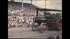 Vintage 16mm film, 1965, County Fair, Steam tractors parade grandstand #2 Stock Footage