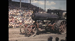 Vintage 16mm film, 1965, County Fair, Steam tractors parade grandstand #3 - stock footage