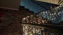 Christmas garland on steps - stock footage