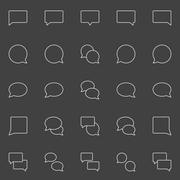 Speech bubble line icons - stock illustration