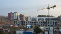Cranes building new residential flat house. One year timelapse. 4K Stock Footage