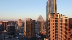 Downtown Austin Sunset Frost Bank Tower Aerial Stock Footage