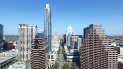 Downtown Austin Congress Avenue Capitol Rising Aerial Stock Footage