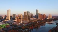 Downtown Austin Sunset Rising Aerial Stock Footage
