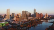 Stock Video Footage of Downtown Austin Sunset Rising Aerial