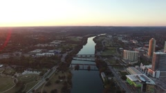Lady Bird Lake Austin Sunset Aerial Stock Footage