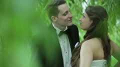 Beautiful young wedding couple Stock Footage