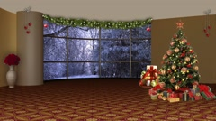 Christmas TV Studio Set 08 - Virtual Green Screen Background Loop - stock footage