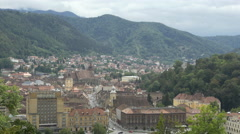 Old Town of Brasov seen from above Stock Footage